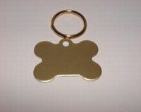 Dog ID tag Bone gold colour