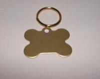 Dog ID tag Bone gold colour
