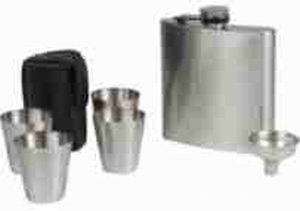 Hip flask 6 OZ the Luxe included 4 cups